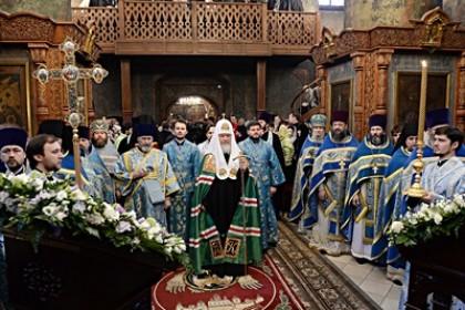 В праздник Сретения Господня Патриарх Кирилл совершил Литургию в Сретенском монастыре